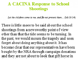 CACINA Response to the School Shootings