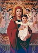 Icon of Our Lady of Atonement holding Christ Child with outstretched arms