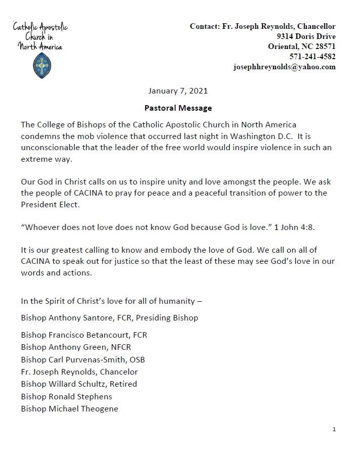 pastoral message condeming mob violence letter