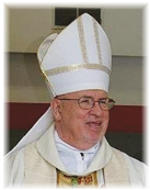 Biship Willard Schultz in miter and vestments